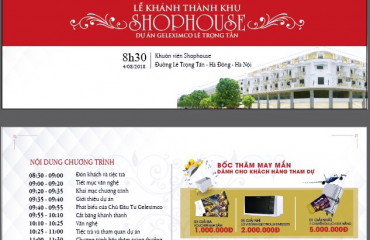 Thư mời sự kiện lễ khánh thành dự án Shophouse Lê Trọng Tấn
